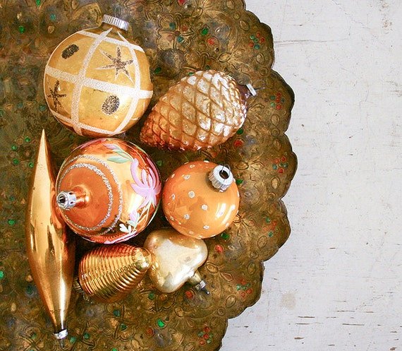 Vintage Christmas Ornaments - Gold Mercury Glass Mixed Lot