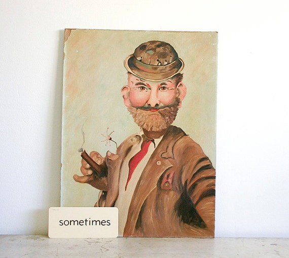 Vintage Outsider Art - Portrait of a Man