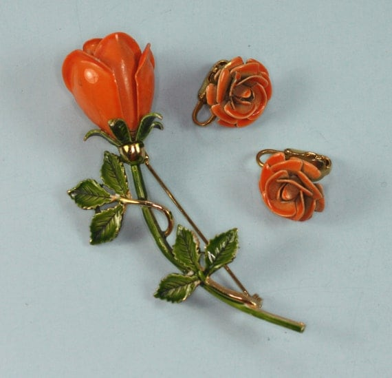 Vintage Rose Brooch and Earrings Orange Enameled