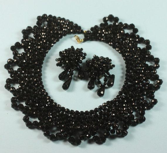 RESERVED LISTING Black Beaded Vintage Bib Necklace Clip Earrings Hong Kong