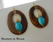 Wood Earrings with Gold Chain and Turquoise Beads