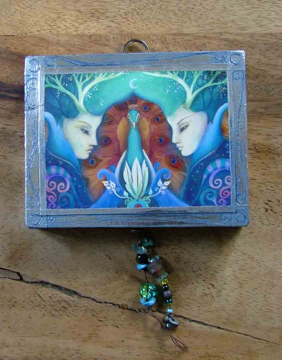 wood block art with beads