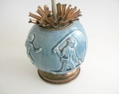 Rookwood blue ball shaped Cigarette Dispenser with  sports theme (Football player, fisherman Jokey and golfer )