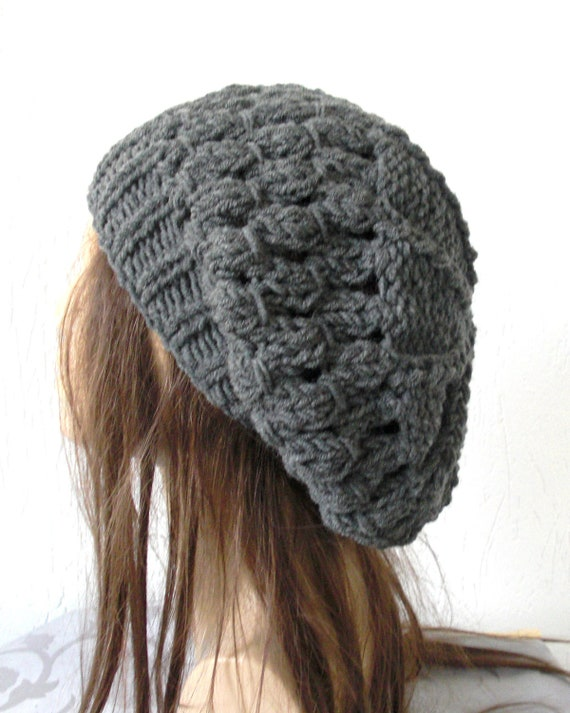 Knit Hat   Womens  Hat   Winter Hat   beret  Beanie in Charcoal Gray Slouch   Slouchy French   Beret Women  Winter Accessories  Fashion