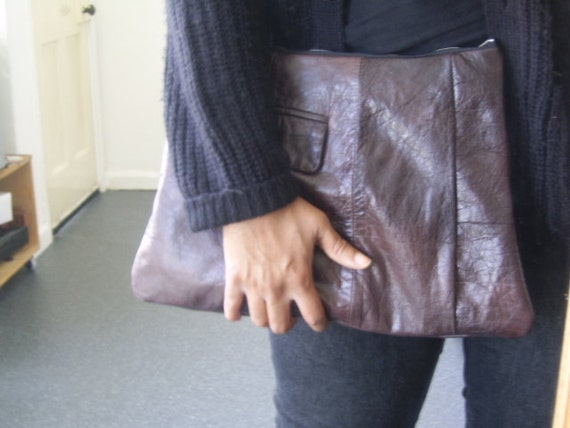 rustic brown large leather clutch bag, recycled pouch, large leather clutch, large leather pouch, large recycled pouch, man bag