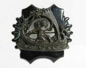 Antique Victorian Mourning Brooch - Goth - Gutta Percha - Angel -Cupid -Cherub- Sea Serpent -Gondola -1870s
