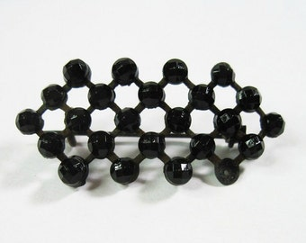 Antique French Jet Brooch - Pin - Victorian - Edwardian - Mourning - Antique Jewelry - Black - Geometric - C1900