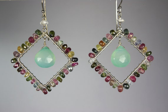 Free Shipping in USA - Multicolor Tourmaline Earrings with Teal Blue Chalcedony - Rainbow weddings, Summer Jewelry