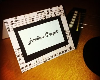 musical music notes place cards for birthdays, weddings, showers, graduations, customizable and made to order with glitter design