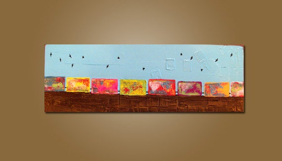 Train Travelling with Birds - 36 x 18, Textured Acrylic Art PAINTING on canvas, Contemporary Earthy Bird, Kids Nursery