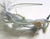 Plume Luxe feather headband crown halo with pearls shown in pale blue and ivory