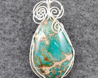 large Aqua Terra Jasper pendant, turquoise, brown, tan with Silver wire wrap - P202