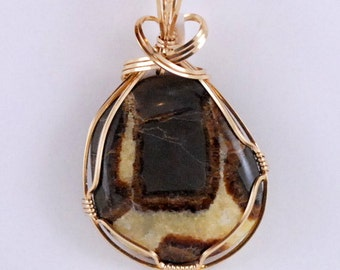 Septarian Pendant, brown, crystalized gold 14k Gold Filled wire wrap - P212