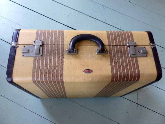 Striped Tweed Hard Side Suitcase