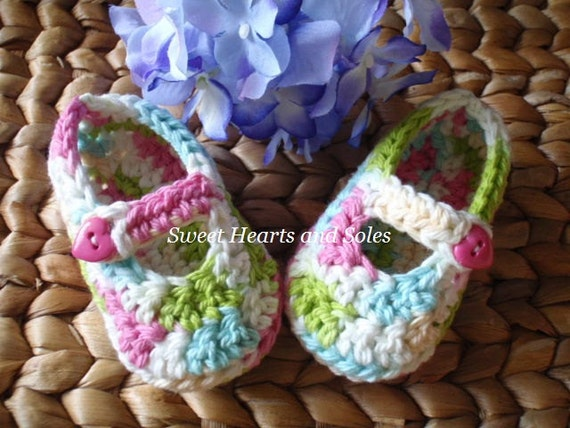 Bright Colors Patchwork Baby Mary Janes 3-6 Months