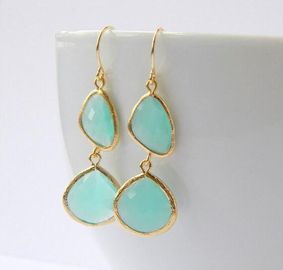 Aqua Earrings - Gold Bridesmaid Earrings - Bohemian Earrings - Bridal Earrings - Bridesmaid Earrings - Gift Under 40