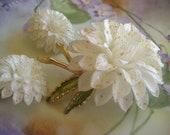 Vintage winter white  brooch earrings set  vintage  floral jewelry