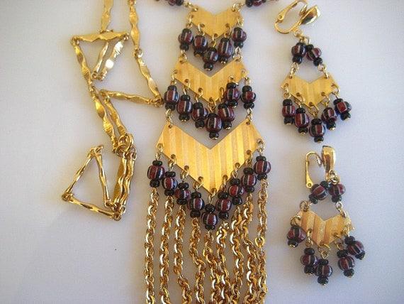 Vintage Fringe Necklace Dangle Earrings Set