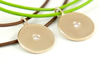Diamond Coin, Diamond Charm, 14K Gold Necklace, Diamond Pendant on Leather Cord.