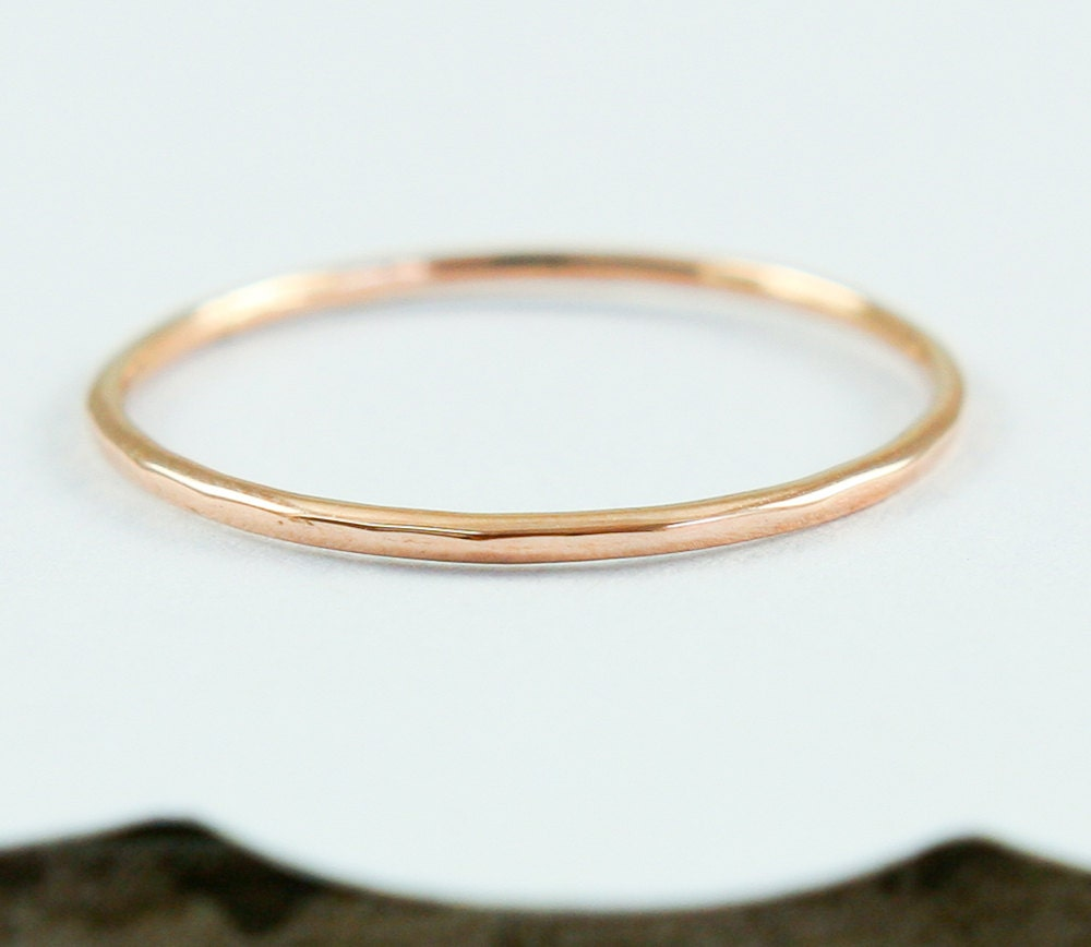 simple 14k gold band stacking ring knuckle ring by tulajewelry