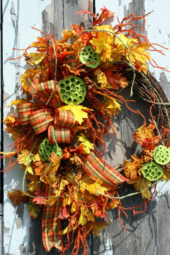 Fall Wreath, Leaves, Berries, Green Lotus Pods, Plaid Bow