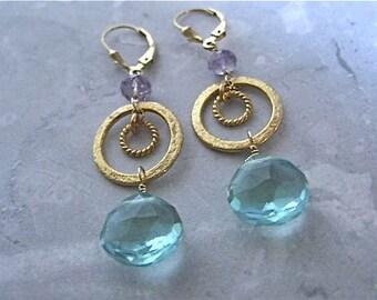 Quartz Amethyst Earrings- Apatite Quartz, Amethyst, Gold Filled