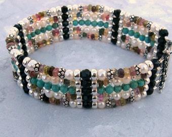 5 Strand Bracelet- Pearl, Turquoise, Tourmaline, Onyx, Silver, Gemstone Cuff