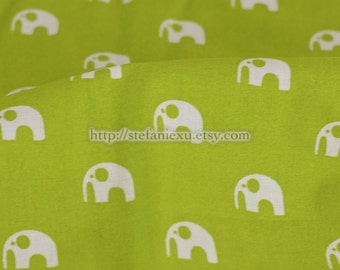 Zoology Collection, Chic White Baby Elephants Animals On Green-Cotton Quilting Fabric (Fat Quarter)