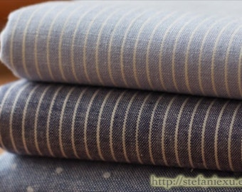 Chic Simple Retro Muji Style Blue Colorway Stripe Lines-Japanese Dyed Cotton Fabric