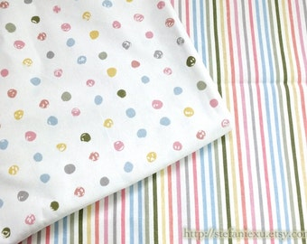 Watercolor Style Sketched Colorful Bubble Polka Dots and Stripe, Choose Pattern - Linen Cotton Blended Fabric (1/2 Yard)