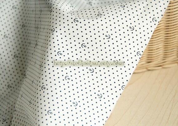 Nautical Marine Ocean Love, Chic Tiny Dark Blue Anchors On White-Japanese Cotton Fabric (Fat Quarter)
