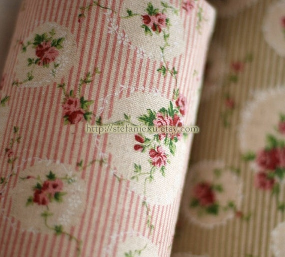 Retro Shabby Chic Rose Garden Lace Wreath Frame, Pink Stripe-Linen Cotton Blended Fabric (1/2 Yard)