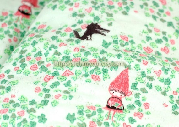 Watercolor Style Little Red Riding Hood and Bad Wolf On Lucky Clovers Land- Knit Cotton Fabric (1/2 Yard, 17.7x59 Inches)