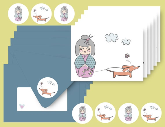 Kokeshi and Doxie Note Cards Set of 6 with Envelopes and Stickers