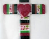 Fused glass wall cross - Heart cross in pinks and greens