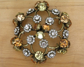 Crystal Encrusted Round Domed Brass Belt Buckle