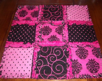 Hot Pink and Black Damask Security Blanket / Raggedy Quilt