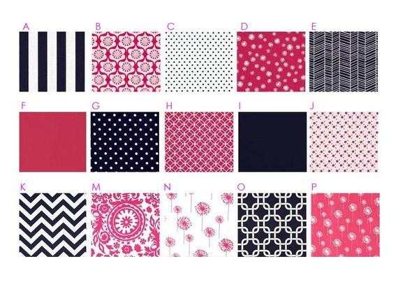 NAVY and PINK Baby Bedding : Dandelion, Stripes, Chevron - Modern Custom Crib Bedding Set - Navy Blue and Hot Pink