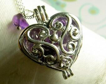 Worry Locket - amethyst heart locket / heart necklace / silver locket / heart locket / amethyst necklace / floating locket / amethyst locket