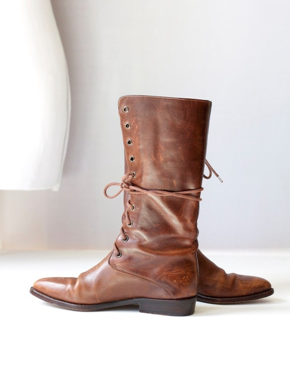 Size 7 Vintage Cole Haan Boots Brown Leather Lace Up