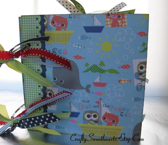 Baby Boy Scrapbook Album Chipboard Memory Book 6x6 Nursery Rhyme Themed Keepsake