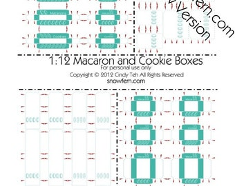 Printable PDF File - Dollhouse Miniature Macaron and Cookie Boxes - Turquoise