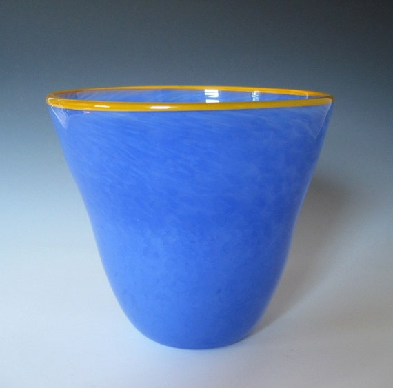 Artisan hand-blown glass bowl in soft blue periwinkle with orange lip wrap