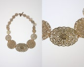 filigree necklace - vintage 1970's golden filigree necklace