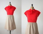 1970s dress - red and khaki secretary dress