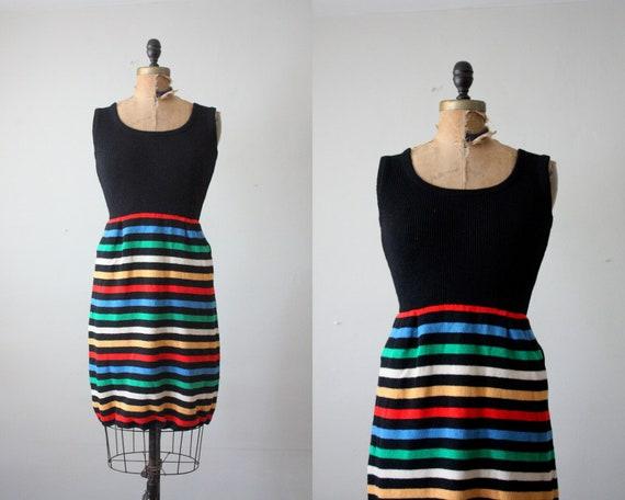 1970's dress - rainbow stripe sweater dress