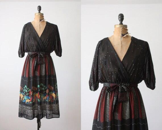 wrap dress dress - 1970s black woodland print wrap dress