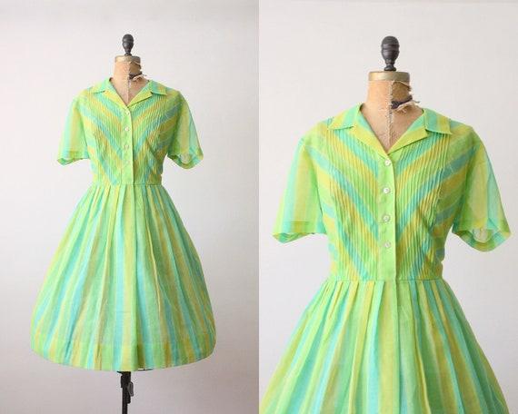 50s dress - vintage 1950's green chevron stripe dress