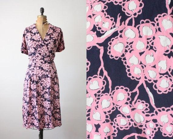 plus size dress - 1940's silk print dress