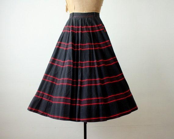 50s circle skirt - 1950s striped skirt